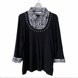 Laura Plus Faux Shirt Stud Neckline Sweater 3X